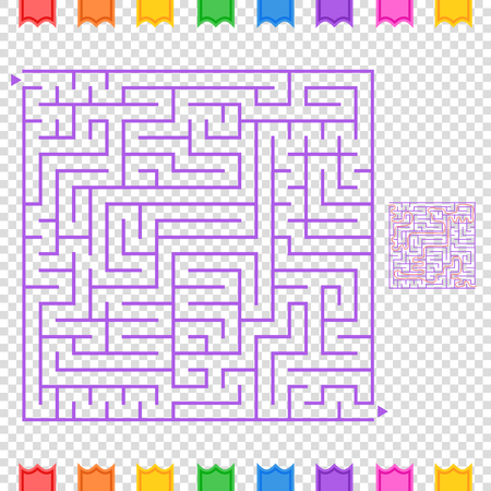 Abstract colored square maze. An interesting game for children and teenagers. A simple flat vector illustration isolated on a transparent background. With the answer.
