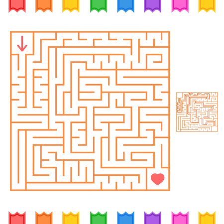 Square color labyrinth. An interesting game for children and adults. Simple flat vector illustration isolated on white background. With the answer.