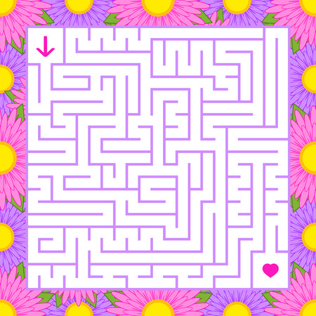 Abstract colored square maze in a frame of beautiful colors. An interesting game for children and teenagers. A simple flat vector illustration isolated on a white background.