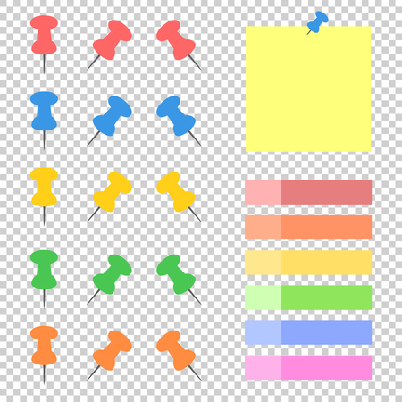 A set of colored sticky bookmarks and office buttons. A simple flat vector illustration isolated on a transparent background.