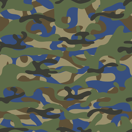 Colorful seamless pattern of forest camouflage. Khaki texture. Simple flat vector illustration. For the design of fabric, wrapping paper, covers, web sites.