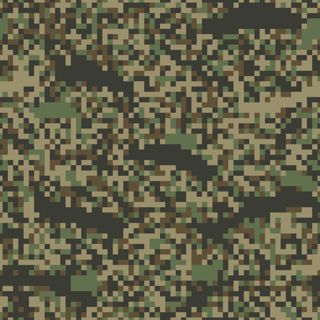Colorful seamless pattern pixel camouflage. Forest texture. Simple flat vector illustration. For the design of fabric, wrapping paper, covers, web sites.