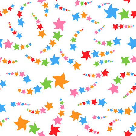 Colorful seamless pattern of cute stars on a white background. Simple flat vector illustration. For the design of paper wallpaper, fabric, wrapping paper, covers, web sites.