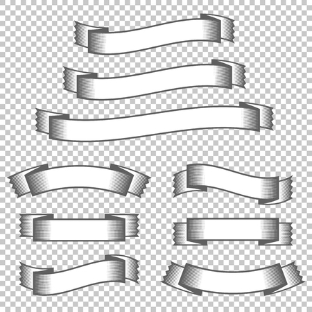 A set of banner ribbons. With space for text. A simple flat vector illustration isolated on a transparent background.