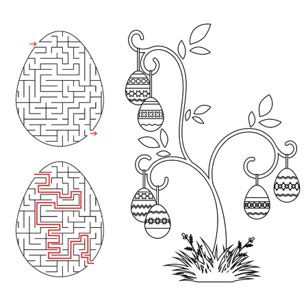 Abstract labyrinth in the form of an egg. Black Stroke. A game for children. With the answer. Easter tree. Simple flat vector illustration isolated on white background.