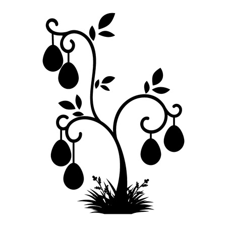 Abstract black silhouette of the easter tree. Festive eggs are hung on branches. Simple flat vector illustration isolated on white background.
