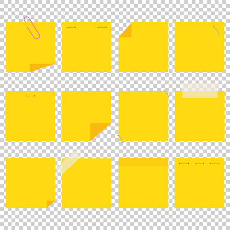 A set of yellow office sticky sheets. A simple flat vector illustration isolated on a transparent background.