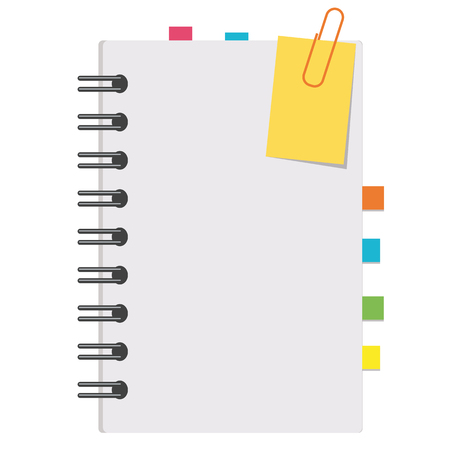 Half an open notepad with clean sheets and bookmarks between the pages. Simple flat vector illustration isolated on white background. Vettoriali