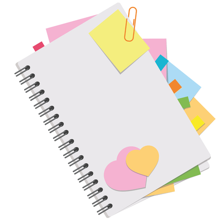 A colored picture of an open notebook with blank sheets and bookmarks between pages. Simple flat vector illustration isolated on white background.