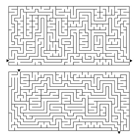 A large rectangular labyrinth with an entrance and an exit. Two options in the kit. Simple flat vector illustration isolated on white background.