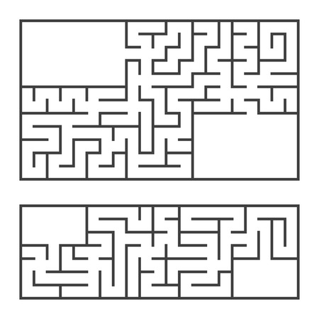 A set of two rectangular mazes with an entrance and an exit. Simple flat vector illustration isolated on white background. With a place for your image