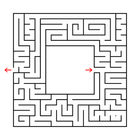 A square labyrinth. Find the way out from the center. Simple flat vector illustration isolated on white background. With a place for your image