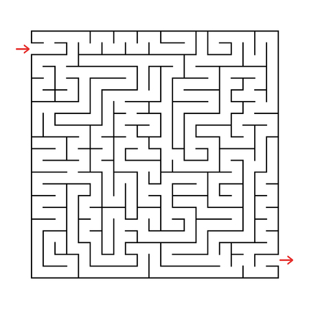 Abstract square labyrinth with a black stroke. An interesting game for children and adults. Simple flat vector illustration isolated on white background.