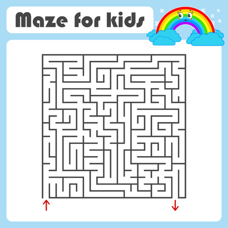 Black square maze with entrance and exit. With a cute cartoon of a rainbow. Simple flat vector illustration isolated on white background