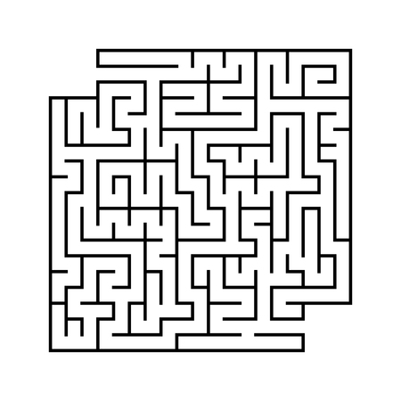 Abstract square maze with entrance and exit. Simple flat vector illustration isolated on white background. With a place for your drawings.