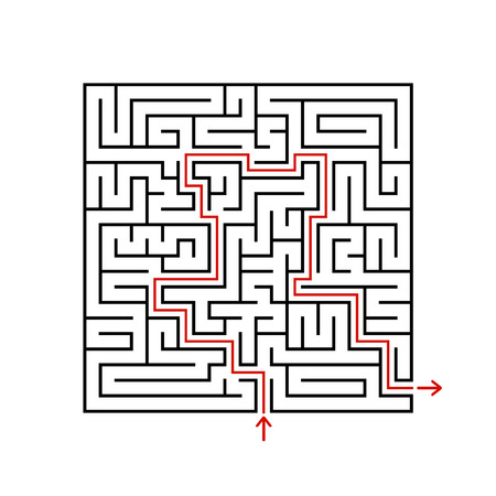 Black square maze with entrance and exit. A game for children and adults. Simple flat vector illustration isolated on white background. With the answer Vettoriali