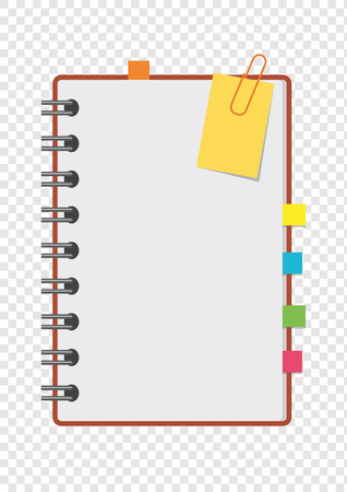 Half a color open notepad on the spring with clean sheets and bookmarks between the pages. A simple flat vector illustration isolated on a transparent background.