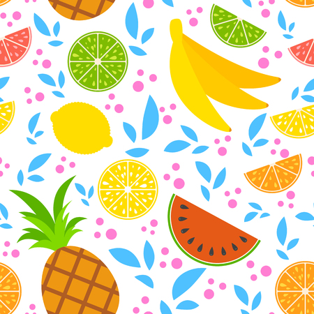 Colorful seamless pattern of appetizing tropical fruits on a white background. Simple flat vector illustration. For the design of paper wallpaper, fabric, wrapping paper, covers, web sites.