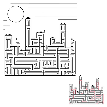 Abstract labyrinth. Silhouette of the city. An interesting game for children and adults. Simple flat vector illustration isolated on white background.