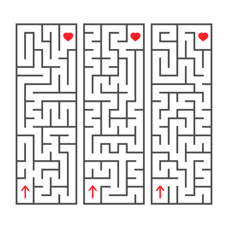 A set of rectangular simple labyrinths. An interesting game for children. Simple flat vector illustration isolated on white background.