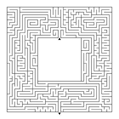 A huge square labyrinth with an entrance and an exit. Simple flat vector illustration isolated on white background. With a place for your drawings Stockfoto - 115499368