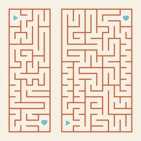 A set of rectangular colored labyrinths. A simple flat vector illustration isolated on a pink background.