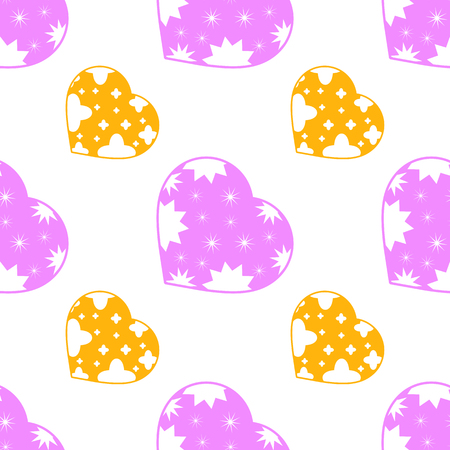 Colorful seamless pattern of cute pink and yellow hearts on a white background. Simple flat vector illustration. For the design of paper wallpaper, fabric, wrapping paper, covers, web sites.