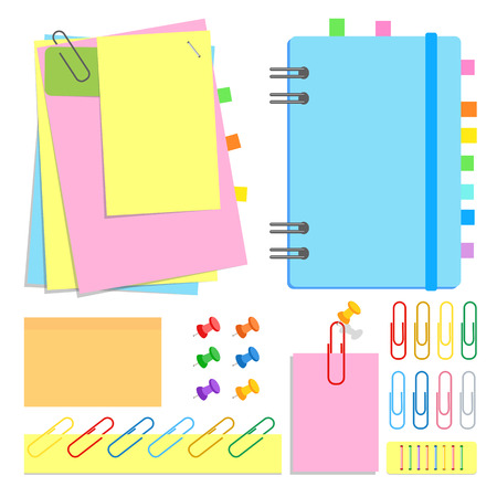 A set of chancery. Closed notebook on a spiral, sticky sheets of different shapes and colors, bookmarks, pins, clips, staples. Vector illustration isolated on white background.