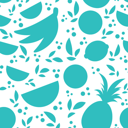 Colorful seamless pattern of silhouettes of tropical fruits on a white background. Simple flat vector illustration. For the design of paper wallpaper, fabric, wrapping paper, covers, web sites.