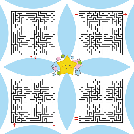 A set of square labyrinths. A game for children and adults. Simple flat vector illustration