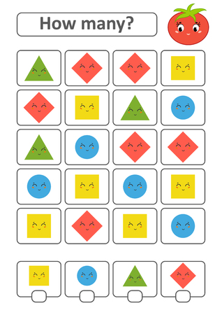 Game for preschool children. Count as many fruits in the picture and write down the result. Triangle, rhombus, square, circle. With a place for answers. Simple flat isolated vector illustration