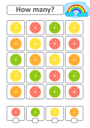 Game for preschool children. Count as many fruits in the picture and write down the result. Lemon, lime, orange, grapefruit. With a place for answers. Simple flat isolated vector illustration