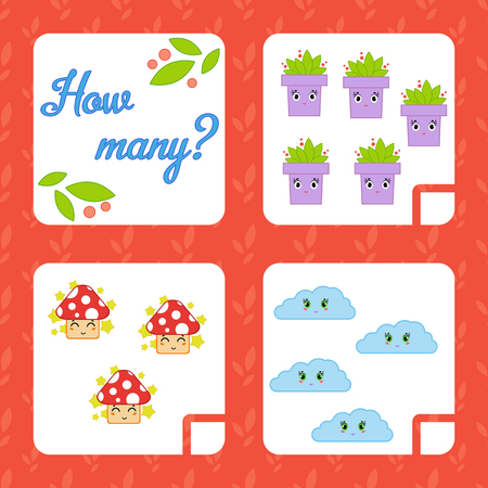 Counting game for preschool children for the development of mathematical abilities. Count the number of objects in the picture. With a place for answers. Simple flat isolated vector illustration