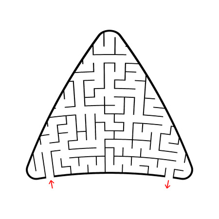 Abstract colored triangular labyrinth. Black color on a white background. An interesting game for children. Vector illustration