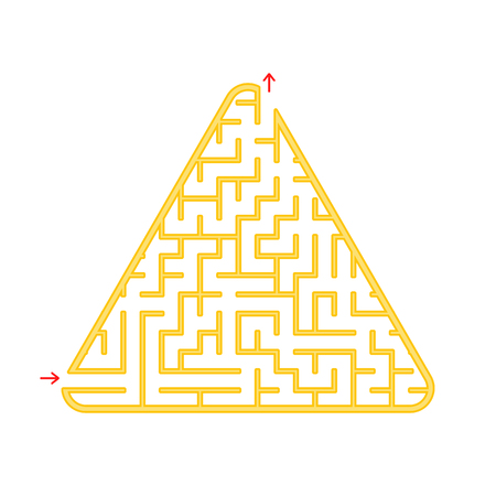 Color triangular labyrinth. An interesting and useful game for children. A simple flat vector illustration on a white background