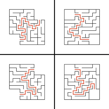Set of abstract square labyrinths. A game for children. Simple flat vector illustration isolated on white background. With a place for your drawings. With the answer.