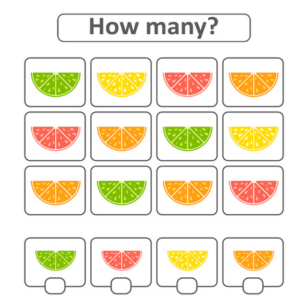 Game for preschool children. Count as many fruits in the picture and write down the result. With a place for answers. Simple flat isolated vector illustration