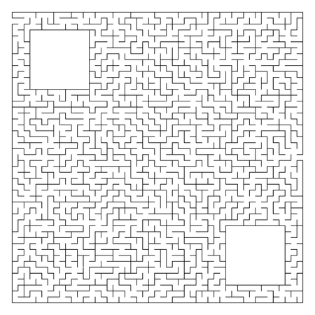 Abstract complex square maze with entrance and exit. An interesting game for children and adults. Vector illustration isolated on white background. With a place for your drawings