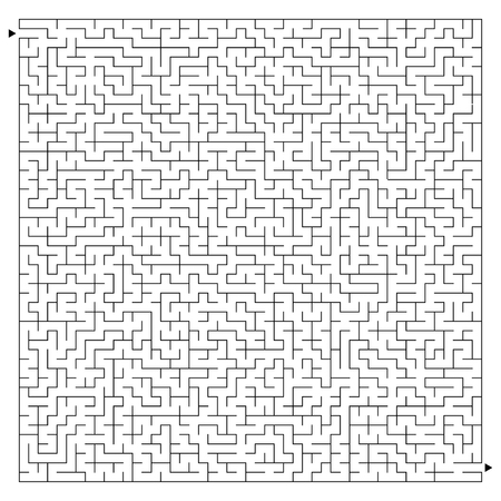 Abstract complex square maze with entrance and exit. An interesting game for children and adults. A mysterious puzzle. Vector illustration isolated on white background