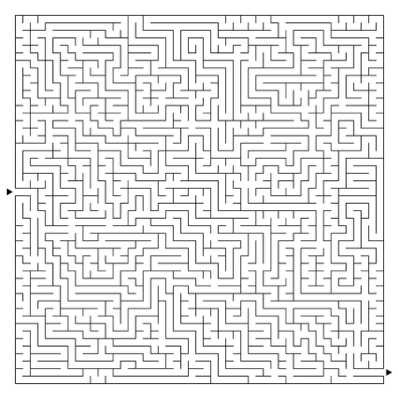 Abstract complex square maze with entrance and exit. An interesting game for children and adults. A mysterious puzzle. Vector illustration isolated on white background Vektorové ilustrace