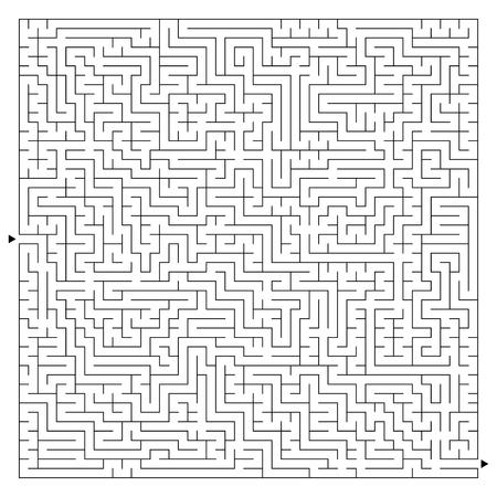 Laberinto cuadrado complejo abstracto con entrada y salida. Un juego interesante para niños y adultos. Un misterioso rompecabezas. Ilustración de vector aislado sobre fondo blanco. Ilustración de vector