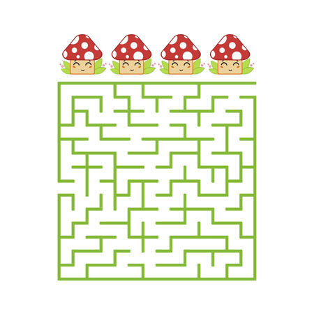 A colored square labyrinth with an entrance and an exit. Difficulty level. Lovely toon. Simple flat vector illustration isolated on white background