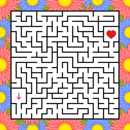 Abstract square maze. An interesting and useful game for children. Find the path from arrow to heart. Simple flat vector illustration isolated on white background Illustration