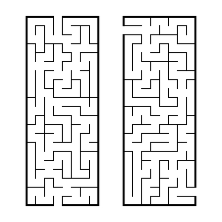 Black abstract rectangular maze. A set of two puzzles. An interesting and useful game for children. Simple flat vector illustration isolated on white background