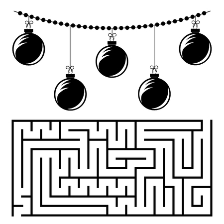 Abstract rectangular maze with a black and white picture. Round Christmas balls. An interesting and useful game for children. Simple flat vector illustration isolated on white background.