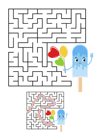 Abstract square maze. Kids worksheets. Game puzzle for children. Cute ice cream on a white background. One entrances, one exit. Labyrinth conundrum. Vector illustration. With the answer.