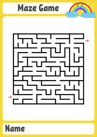 Abstract square maze. Kids worksheets. Game puzzle for children. Funny rainbow on a colored background. One entrances, one exit. Labyrinth conundrum. Vector illustration. With place for name.