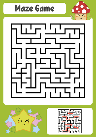 Abstract square maze. Kids worksheets. Game puzzle for children. Cute star and mushroom. One entrances, one exit. Labyrinth conundrum. Vector illustration. With answer. Illustration