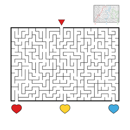 Abstract rectangular large maze. Game for kids and adults. Puzzle for children. Find the right way out. Labyrinth conundrum. Flat vector illustration.