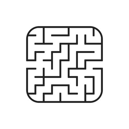 Abstraktes quadratisches Labyrinth. Leichter Schwierigkeitsgrad. Spiel für Kinder. Puzzle für Kinder. Ein Eingang, ein Ausgang. Rätsel des Labyrinths. Flache Vektorillustration lokalisiert auf weißem Hintergrund. Vektorgrafik
